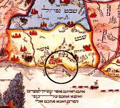 Akhziv on the map of Abraham ben Yaakov (ca. 1695)